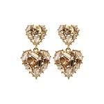#CHAMPAGNE / Stone Double Heart Drop Earrings