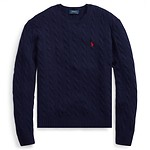 #BLUE / POLO RALPH LAUREN CABLE WOOL CASHMERE SWEATER M
