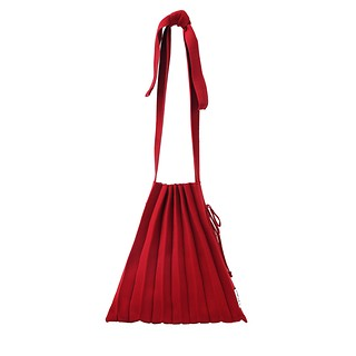 #Crimson Red / Lucky Pleats Knit M Half & Half