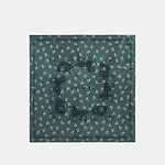 Horse And Carriage Floral Silk Square/Dark Turquoise