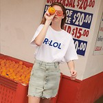#WHITE / (TS-19303) R:LOL BASIC T-SHIRT M