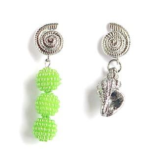 Aloha drop earring silver+green
