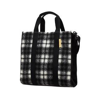 #Black&White / Check Tote